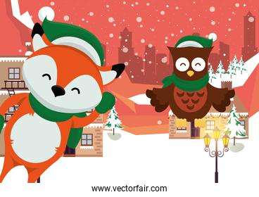 christmas snowscape scene with fox and owl