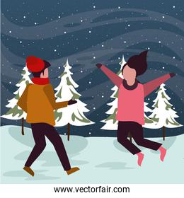 christmas snowscape scene with kids jumping