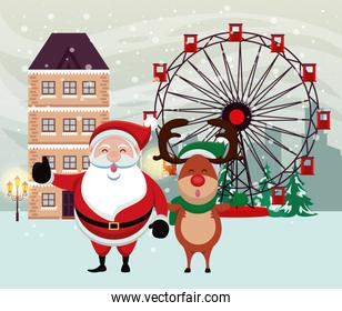 christmas snowscape scene with santa claus and deer