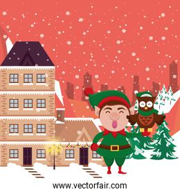 christmas snowscape scene with elf and owl