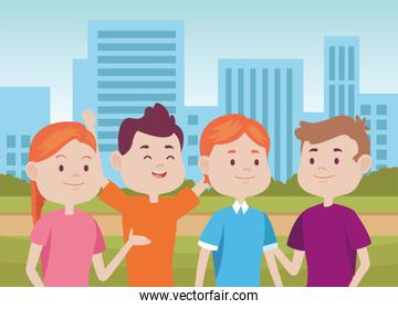 young people characters in the city