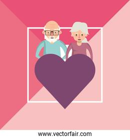 cute grandparents couple lovers with heart