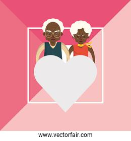 afro grandparents couple lovers with heart