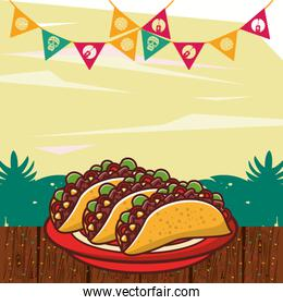 delicious tacos mexican food with garlands