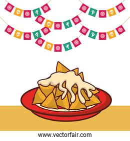 delicious nachos mexican food with party garlands