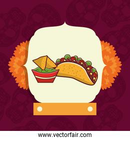 delicious taco mexican food with flowers decoration