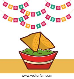 delicious nachos with guacamole sauce mexican food