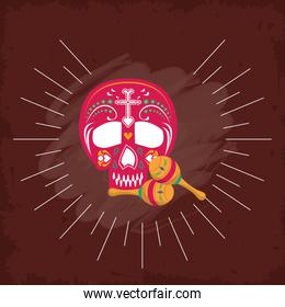 maracas and head skull mexican culture