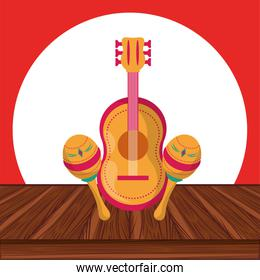 maracas and guitar mexican culture