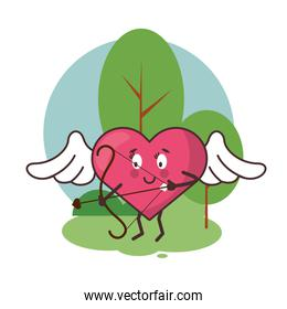 heart cupid angel with wings and arch