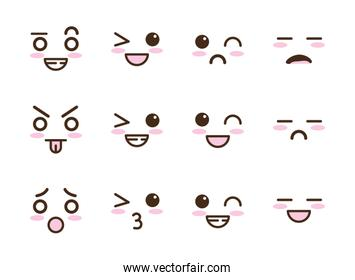 bundle of faces kawaii characters
