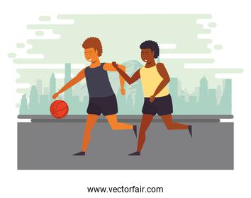 athletes practicing basketball sport on the city