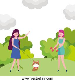 young women with dog and weight dumbbell, exrcise outdoor