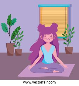 girl in yoga lotus pose on mat in the room, exercises at home
