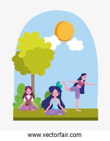 group young people training yoga pose stretching cartoon