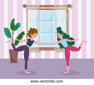girls holding hands practicing yoga in room, exercises at home
