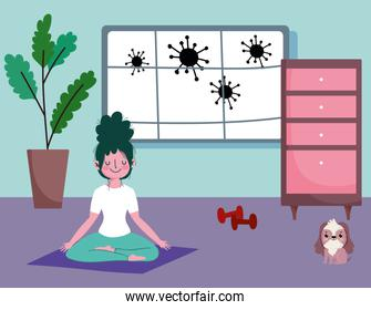 girl practicing yoga on floor in room with dog and gym weight, exercises at home