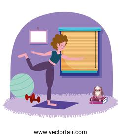 woman exercising yoga in room, exercises at home