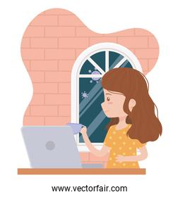 stay at home, young woman working with coffee cup and laptop