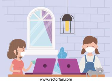 stay at home, woman with laptop and girl with computer cat in the room