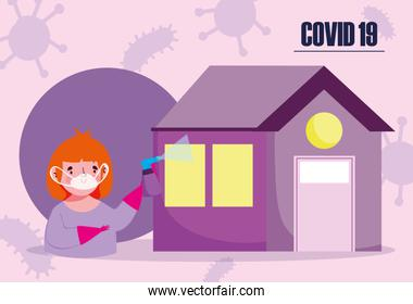 covid 19 coronavirus, boy with mask and disinfectant spray