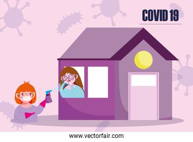 covid 19 coronavirus, boy with mask glove and disinfectant, girl stay at home