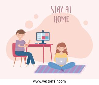 stay at home, boy in online meeting with computer and girl using laptop
