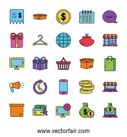 shopping basket and ecommerce icon set, color line style