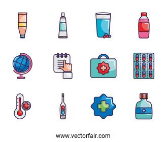 digital thermometer and medicine icon set, line color style
