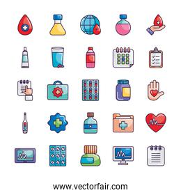 blood drop and medicine icon set, line color style