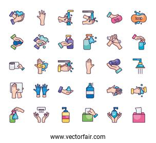 cleaning and hand hygiene icon set, line color style