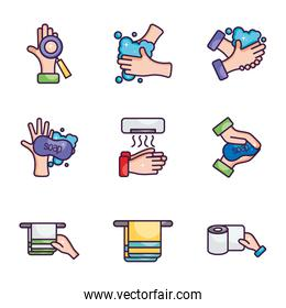 towels and hand hygiene icon set, line color style