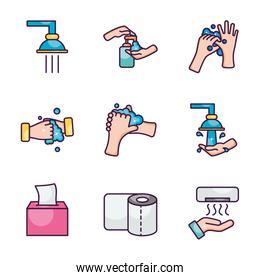 faucets and hand hygiene icon set, line color style