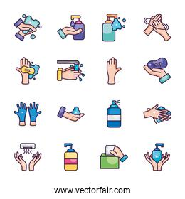antibacterial bottles and hand hygiene icon set, line color style