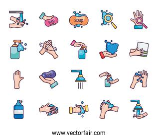 water and hand hygiene icon set, line color style