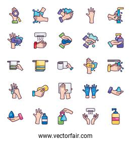 hand dryer and hand hygiene icon set, line color style