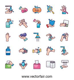 soap and hand hygiene icon set, line color style