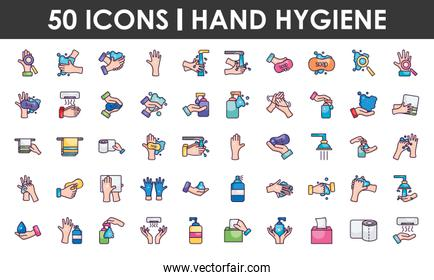 hand hygiene icon set, line color style
