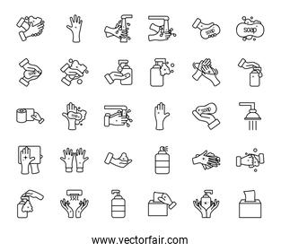 cleaning and hand hygiene icon set, line style
