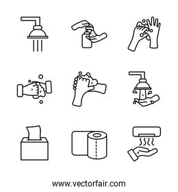 faucets and hand hygiene icon set, line style