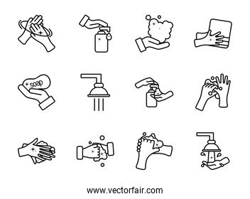 clean hands and hand hygiene icon set, line style