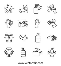 antibacterial bottles and hand hygiene icon set, line style