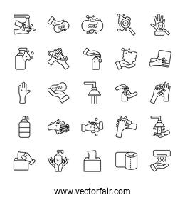 soap and hand hygiene icon set, line style
