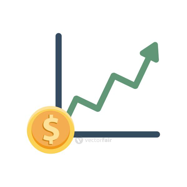 financial statistics graphic with dollar coin
