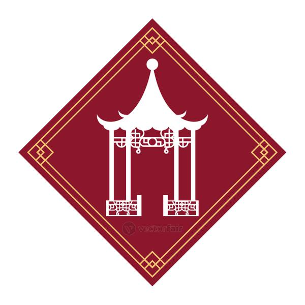chinese culture construction isolated icon