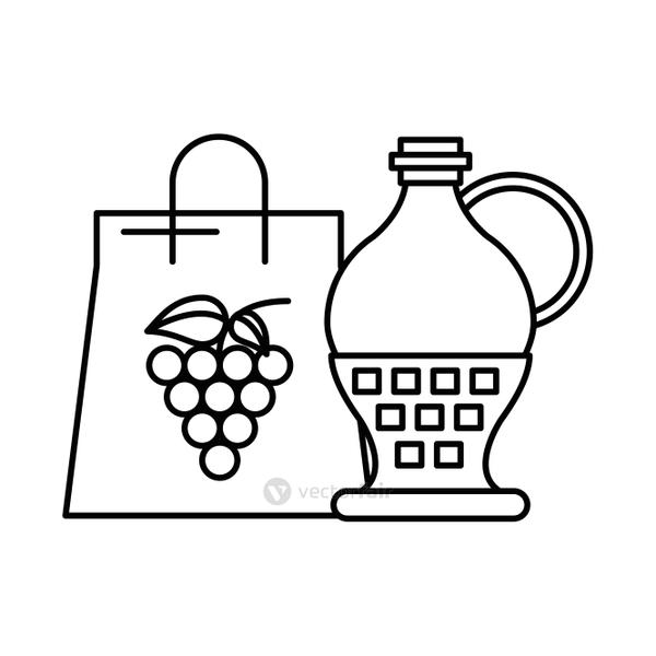grapes fresh fruits in paper shopping bag