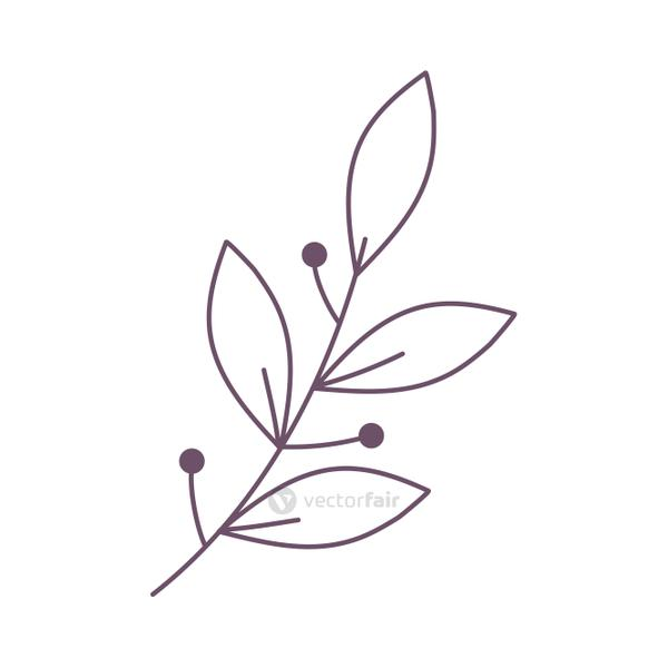 linear branch leaves nature foliage icon
