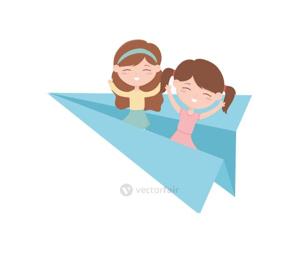 happy childrens day, little girls on paper plane playing toy cartoon