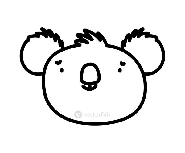 cute koala face animal cartoon character on white background thick line