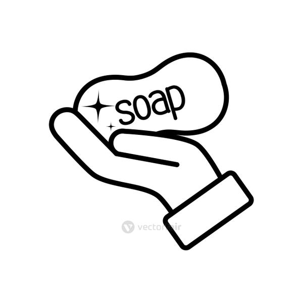 hand with soap bar icon, line style